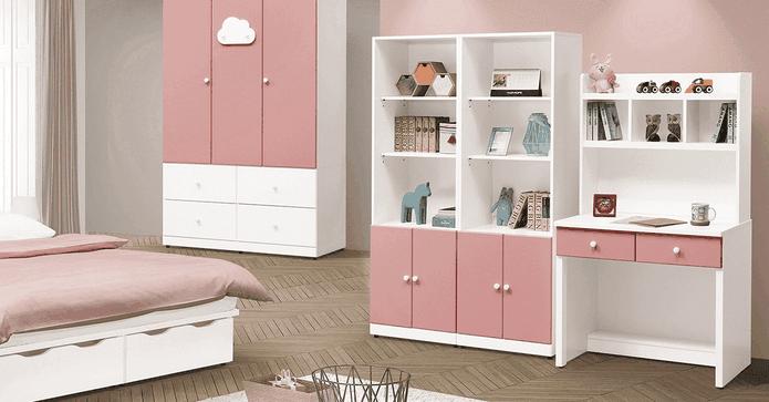 雲朵粉紅3尺書桌收納架