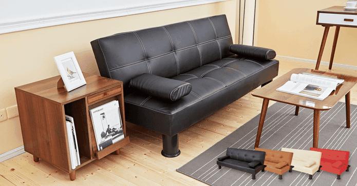 多功能質感皮革沙發床椅