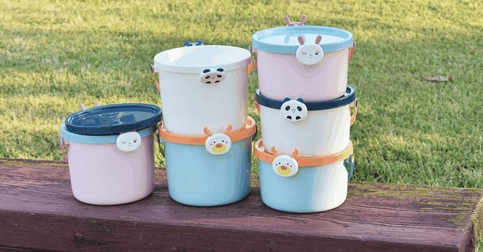 動物造型玩具收納桶附蓋