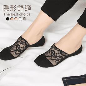大花邊透氣蕾絲船襪