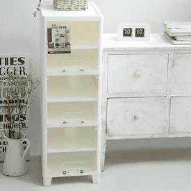 純白前開式三層收納櫃
