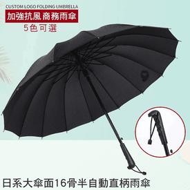 16骨黑膠半自動晴雨傘