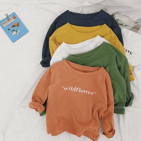 兒童字母多色長袖上衣