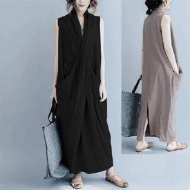 棉麻寬鬆口袋連身長裙