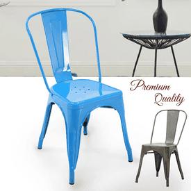 工業風金屬高背餐椅